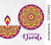 diwali festival greeting card... | Shutterstock .eps vector #727183411