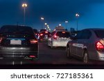 row of cars with traffic jam on ... | Shutterstock . vector #727185361