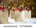 christmas shopping bag  snow ... | Shutterstock . vector #727186681