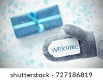 turquoise gift  glove  text... | Shutterstock . vector #727186819