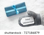 turquoise gift  glove  frohe... | Shutterstock . vector #727186879
