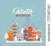 winter city card. vector... | Shutterstock .eps vector #727187161
