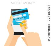 phone in hands with a credit...   Shutterstock .eps vector #727187317