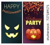 happy halloween banner. set of... | Shutterstock .eps vector #727189171