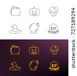 halloween thin line icons for...   Shutterstock .eps vector #727189294