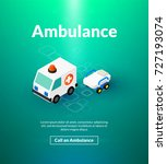 ambulance poster of isometric... | Shutterstock .eps vector #727193074