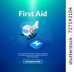 first aid poster of isometric... | Shutterstock .eps vector #727193104