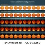 animated pumpkins. vector set... | Shutterstock .eps vector #727193359