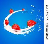 3d strawberry yogurt flavor ad... | Shutterstock . vector #727194445