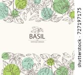 background with basil leaf and... | Shutterstock .eps vector #727197175