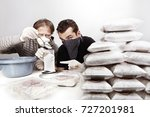 two dealers packing in room lot ... | Shutterstock . vector #727201981