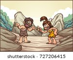 cartoon caveman couple arguing. ... | Shutterstock .eps vector #727206415