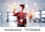 young man with virtual reality... | Shutterstock . vector #727206601