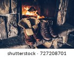 winter boots in front of a... | Shutterstock . vector #727208701