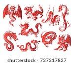 Chinese Asia Red Dragon Animal...