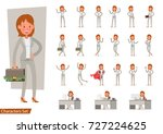 set of businesswoman character... | Shutterstock .eps vector #727224625