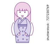 little japanese doll kawaii...   Shutterstock .eps vector #727230769
