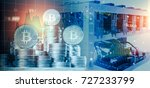 computer for bitcoin mining and ... | Shutterstock . vector #727233799