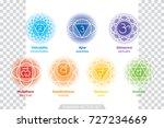 chakras system of human body  ... | Shutterstock .eps vector #727234669