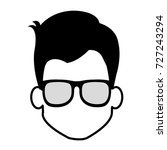 young man head with glasses... | Shutterstock .eps vector #727243294