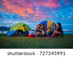 camping of happy asian young... | Shutterstock . vector #727245991