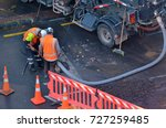 unrecognizable road workers... | Shutterstock . vector #727259485