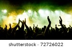 silhouettes of concert crowd in ...