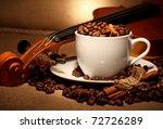 coffee and violin still life - stock photo