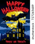 halloween card design with bat...   Shutterstock .eps vector #727265689