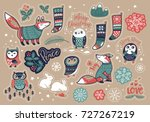 set of cute christmas elements... | Shutterstock .eps vector #727267219