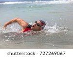 professional triathlete man... | Shutterstock . vector #727269067