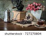 coffee in the morning. still... | Shutterstock . vector #727270804