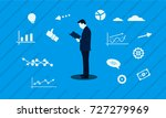 businessman mascot reading pose ... | Shutterstock .eps vector #727279969