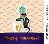 happy halloween poster with... | Shutterstock .eps vector #727281511