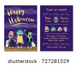 halloween party invitation with ... | Shutterstock .eps vector #727281529