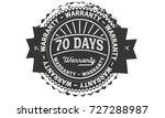 70 days warranty icon vintage... | Shutterstock .eps vector #727288987