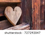 wooden heart outside of a... | Shutterstock . vector #727292047
