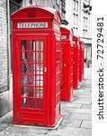 Row Of Iconic London Red Phone...