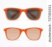 realistic 3d sunglasses striped ... | Shutterstock .eps vector #727301011
