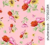 seamless watercolor pattern... | Shutterstock . vector #727302184
