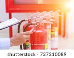 engineer inspection fire... | Shutterstock . vector #727310089