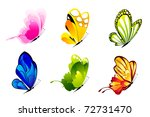 Stock vector illustration of set of colorful butterflies on isolated background 72731470