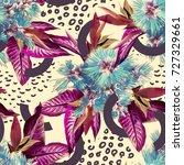 tropical seamless pattern.... | Shutterstock . vector #727329661