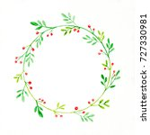 christmas wreath watercolor... | Shutterstock . vector #727330981