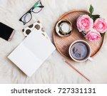 styled feminine desktop. work... | Shutterstock . vector #727331131