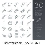 a set of simple outline tools... | Shutterstock .eps vector #727331371