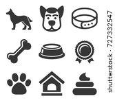 dog icons set on white...   Shutterstock .eps vector #727332547