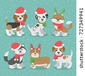 cute christmas dogs in hats and ... | Shutterstock .eps vector #727349941