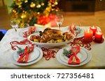 dinner with chicken near... | Shutterstock . vector #727356481