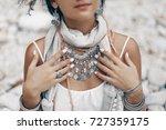 Close Up Of Boho Styled Woman...